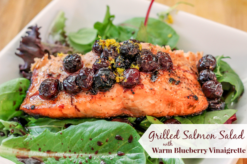 Grilled Salmon Salad with Warm Blueberry Vinaigrette #15MinuteSuppers