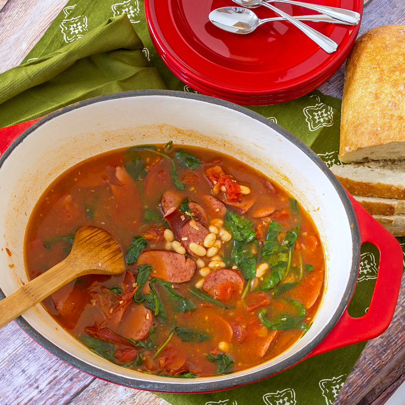 Healthy Bean and Sausage Soup #15MinuteSuppers -- AMFT