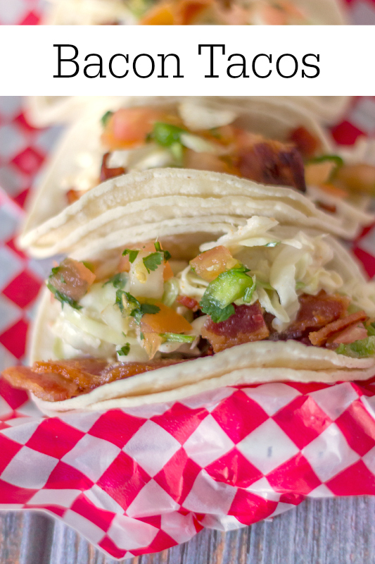 bacon tacos on a checkered napkin