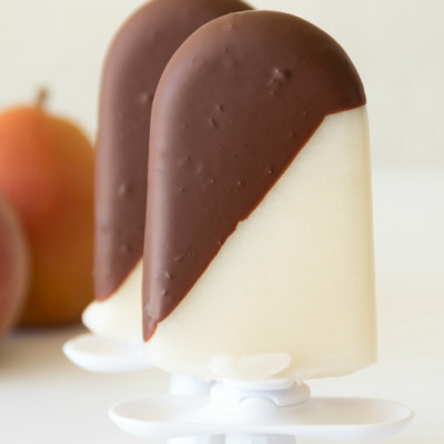 Chocolate Dipped Pear Popsicles