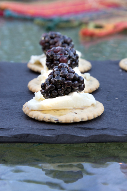 Blackberries & Goat Cheese & Honey Appetizers....plus 2 more Quick Appetizers.  These 3 quick appetizers are perfect for all your summer parties, BBQ's, and picnics.  All three can be thrown together in about 15 minutes leaving more time to enjoy your company! #appetizers