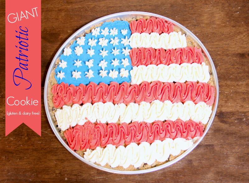 Giant Patriotic Chocolate Chip Cookie {Gluten Free/Vegan}