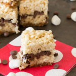 The taste of S'Mores wrapped up into a wonderful Rice Krispies Treat is a match made in heaven. No campfire needed for these S'Mores Rice Krispies Treats!