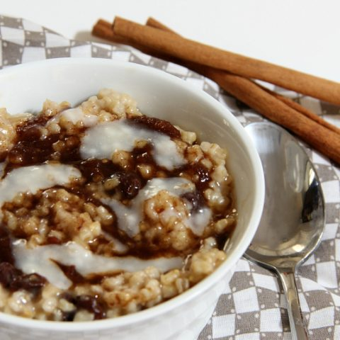 bowl of cinnamon roll oatmeal
