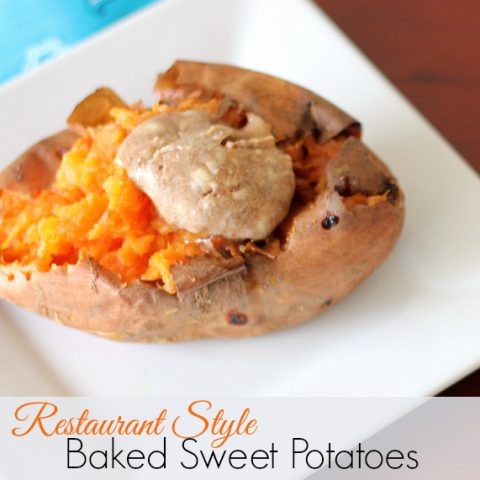 restaurant style baked sweet potato with cinnamon butter