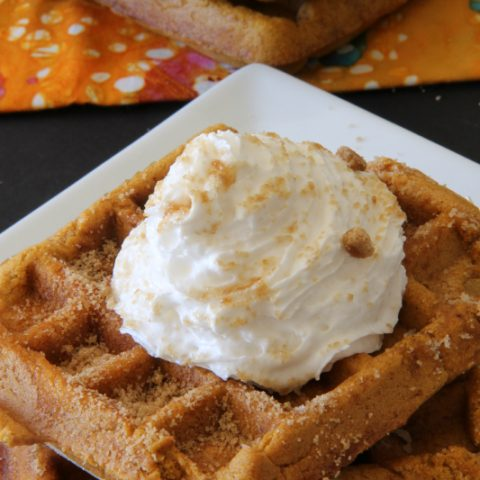 Pumpkin Pie Waffles topped with whipped cream and cinnamon