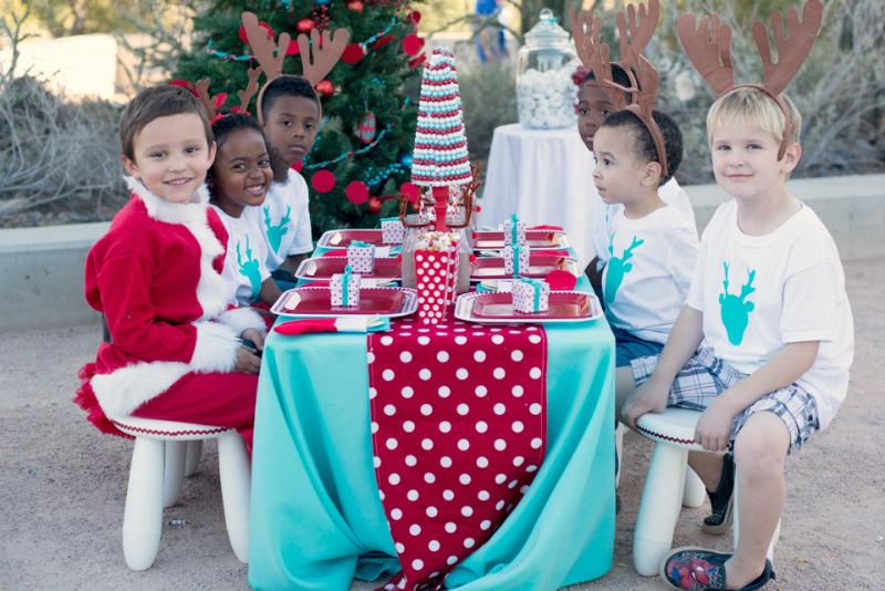 red & aqua kids christmas party