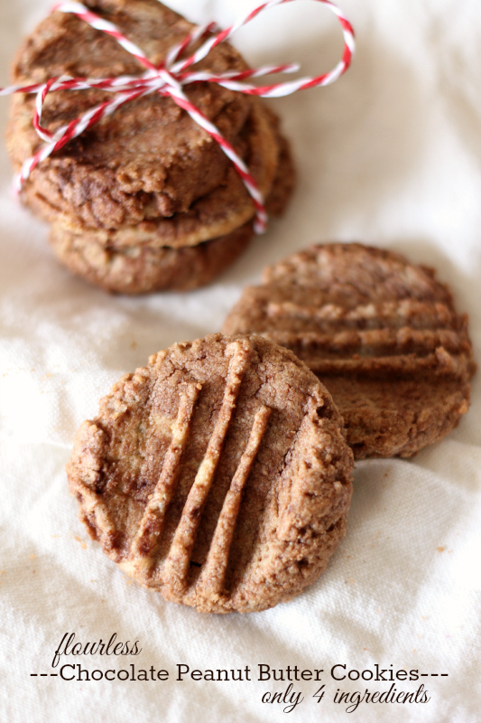 Flourless Chocolate Peanut Butter Cookies....only 4 ingredients