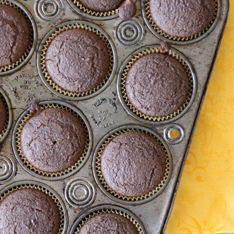 pan of gluten free chocolate muffins