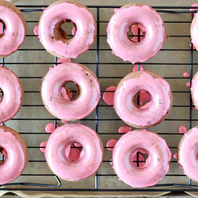 Chocolate Donuts with Cherry Glaze