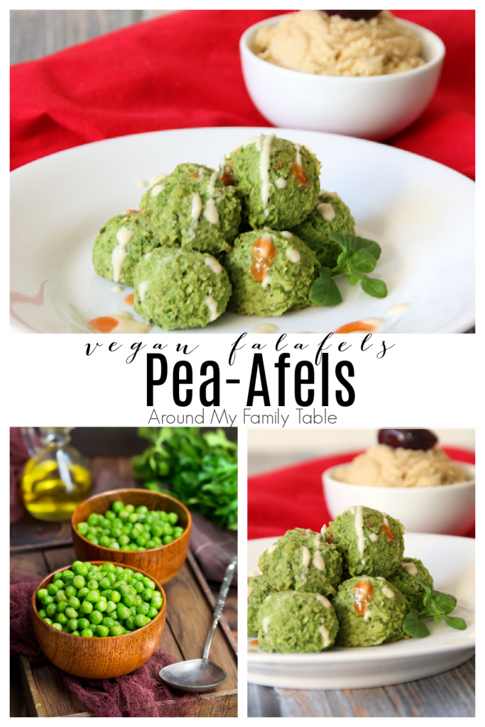 Pea-Afel (Vegan Falafel) on a white plate with hummus and green peas collage
