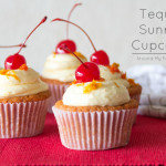 Tequila Sunrise Cupcakes-- a grenadine cupcake with tequila orange buttercream