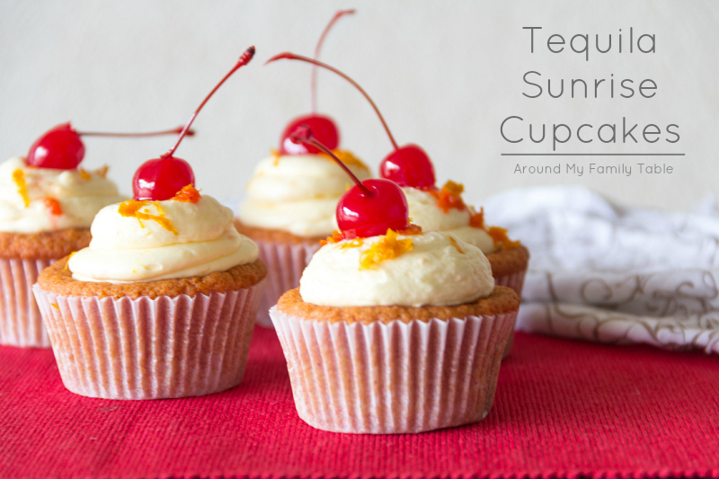 Tequila Sunrise Cupcakes-- a grenedine cupcake with tequila orange buttercream