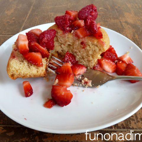 Honey Lemon Pound Cake Muffins with Fresh Fruit