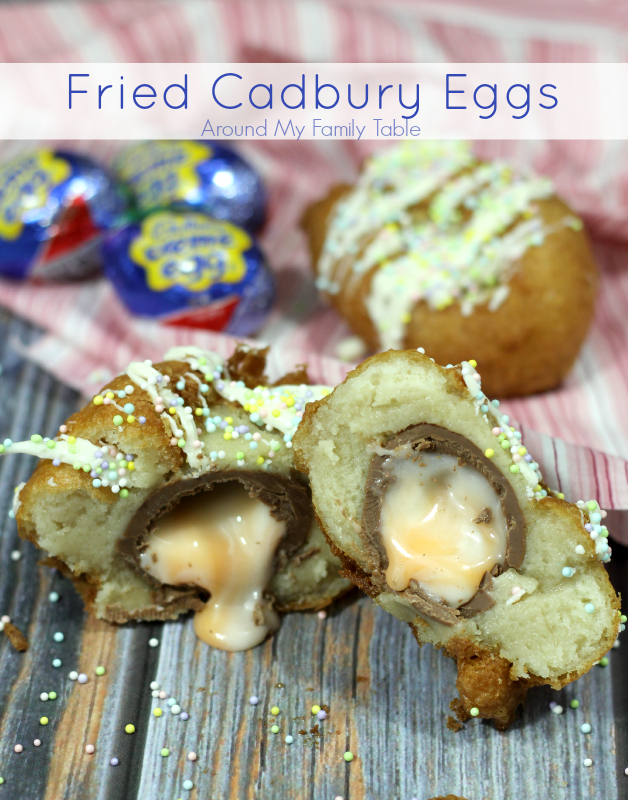 Fried Cadbury Eggs....take a Cadbury Egg, wrap in sugar cookie dough, dip in egg batter and fry! Such a fun Easter dessert for the kids!