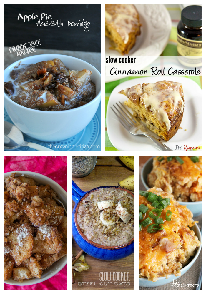 collage image of slow cooker brunch recipes