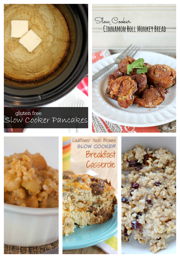 photo collage of slow cooker brunch recipes