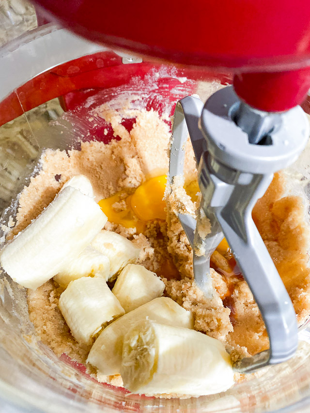 Peanut Butter Banana Cookie Bars ingredients in mixer
