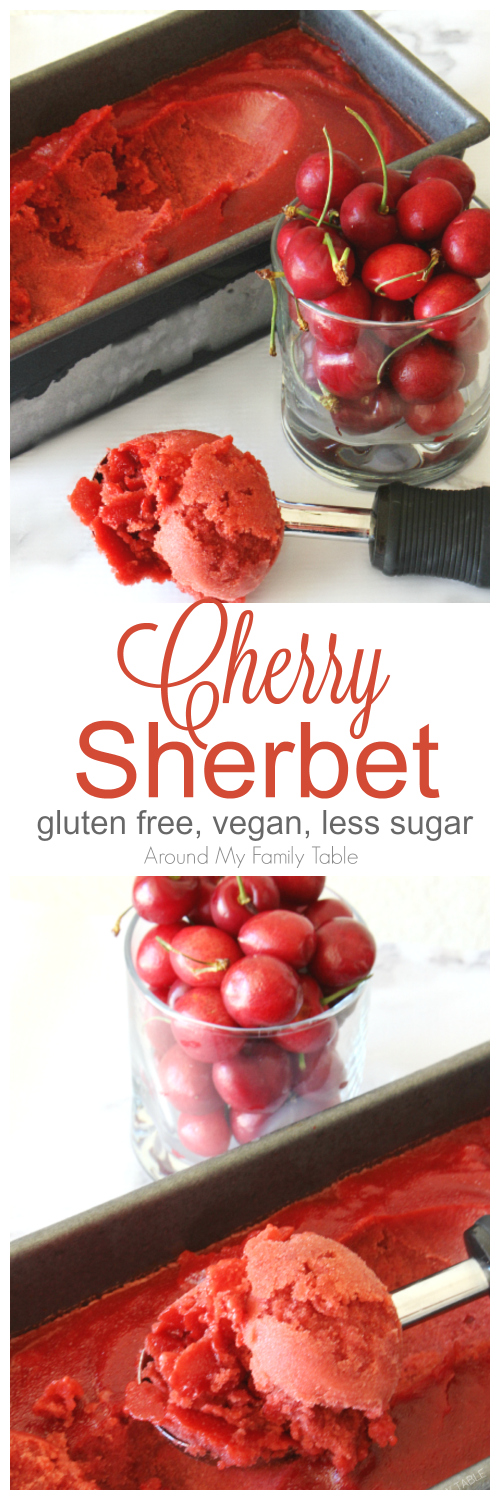 This delicious Cherry Sherbet is made with juice from fresh cherries...it's dairy free and vegan, but you wouldn't know it.  It's the perfect summertime dessert! #cherries #sherbet #vegan #cherrydessert