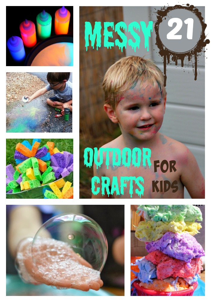 Summer is just around the corner, so I'm getting creative and figure out ways to keep the kids entertained for those 8 weeks and these 21 Messy Outdoor Crafts for Kids will be perfect.