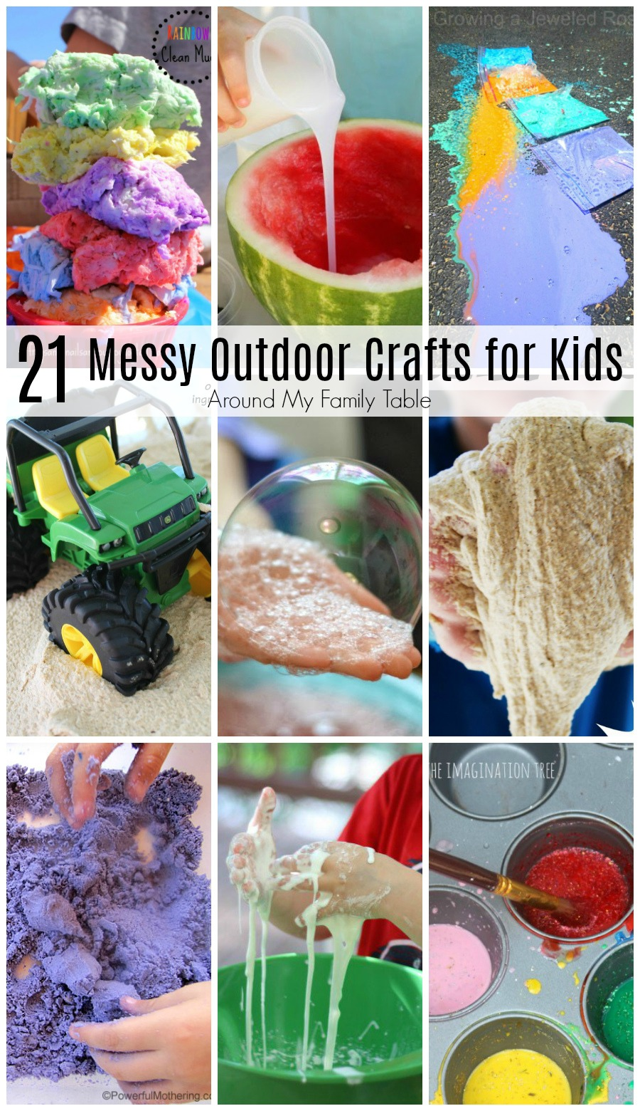 Keep your kids busy and boredom in check with these 21 Messy Outdoor Crafts for Kids.  Kids will love these messy outdoor ideas and you'll love that the mess stays outside. via @slingmama