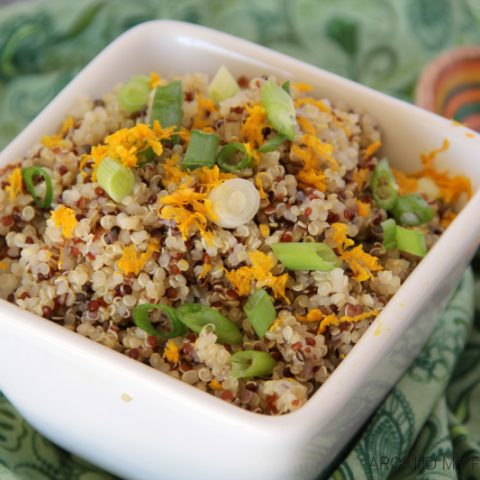 This Orange Scallion Quinoa is a perfectly flavored side dish goes well with fish or even a grilled steak.