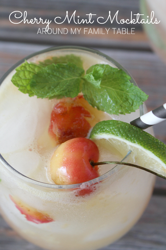 Celebrate summer with a fresh cherry and mint drink.  These Cherry Mint Mocktails are sweet, tangy, bubbly and family friendly!