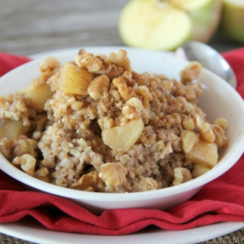 Whip up a batch of these steel cut oats into the most delicious APPLE PIE OATMEAL in about 15 minutes!
