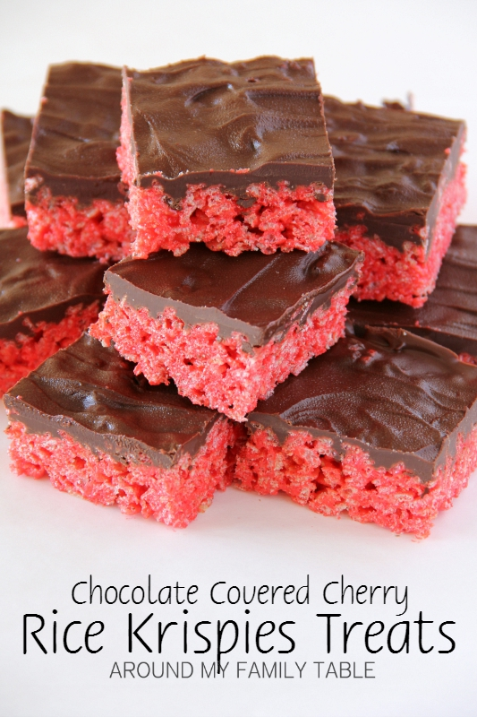 Chocolate Covered Cherry Rice Krispies Treats
