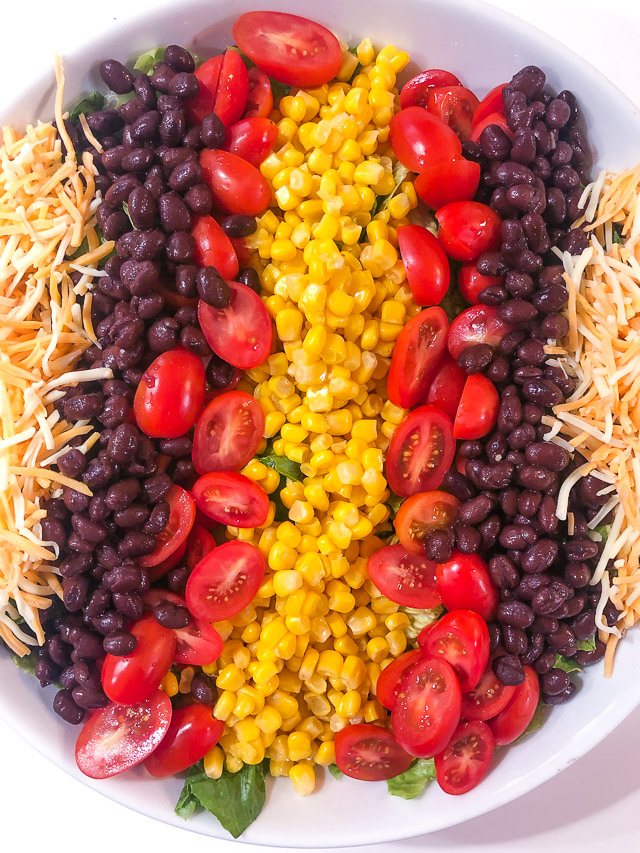 southwestern salad in a white bowl