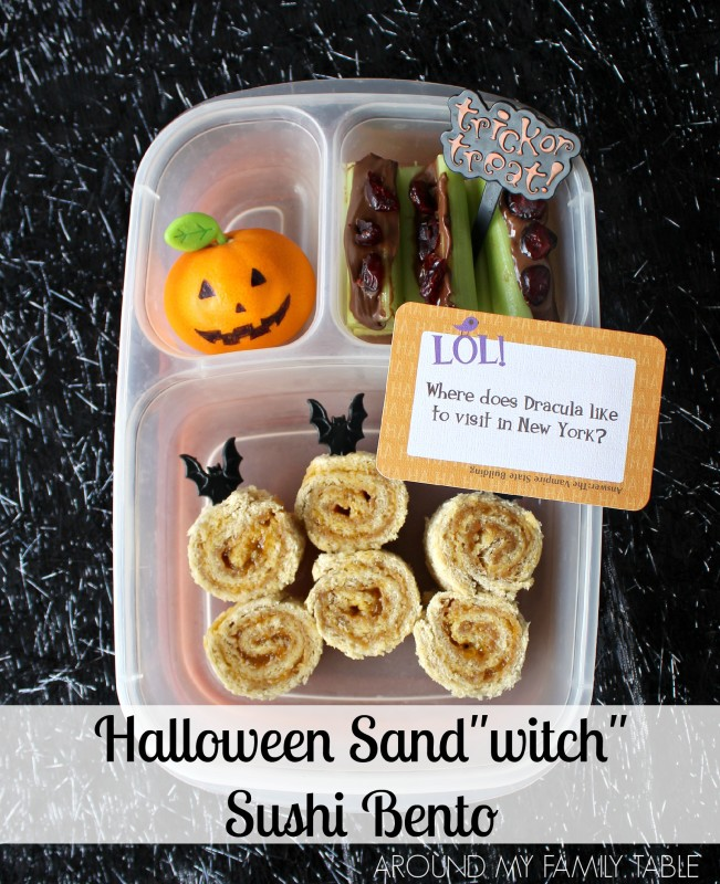 "This cute Halloween Sandwich Sushi Bento box should really be called the Halloween ""Sand-witch"" Sushi Bento Box."