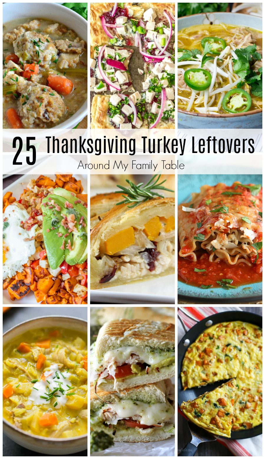 Don't you just love all the food for Thanksgiving? I make way too much so I compiled a list of over 25 of the best recipes for Thanksgiving Turkey Leftovers.