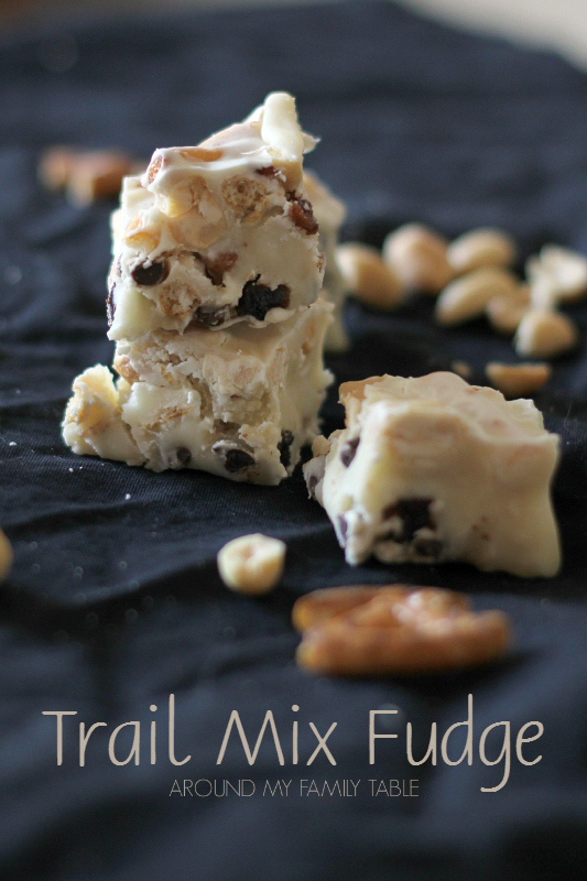 delicious White Chocolate Trail Mix Fudge