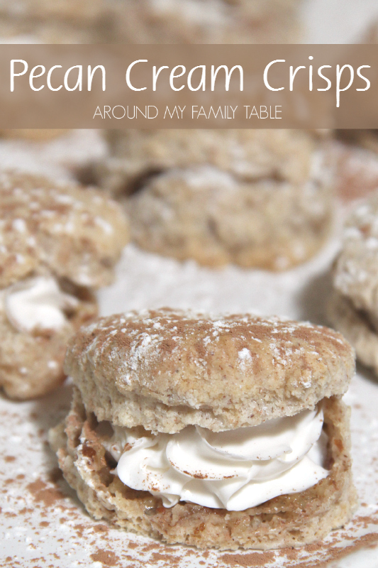 My Pecan Cream Crisps are similar to a cream puff, but instead of soft like donuts they are hollow crispy thin cookies filled with whipped cream. And let me tell you...they are to-die-for!
