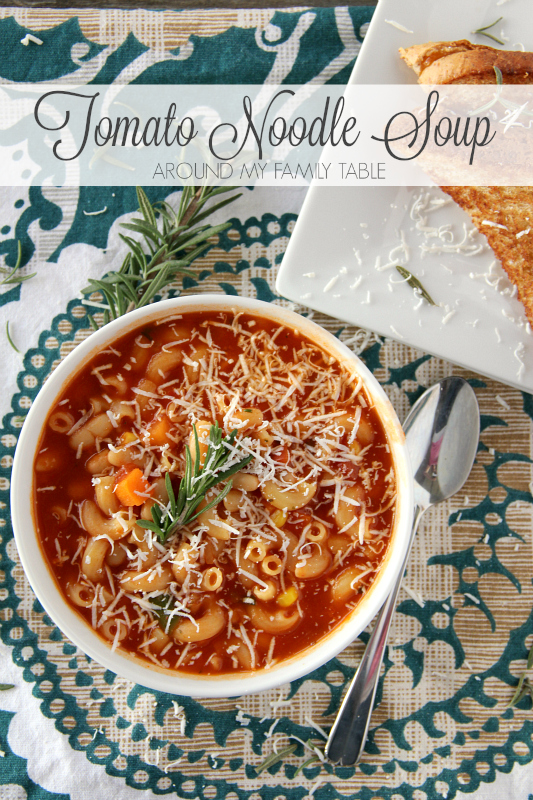 This simple and delicious Tomato Noodle Soup is ready in about 15 minutes and goes perfect with a grilled cheese sandwich.