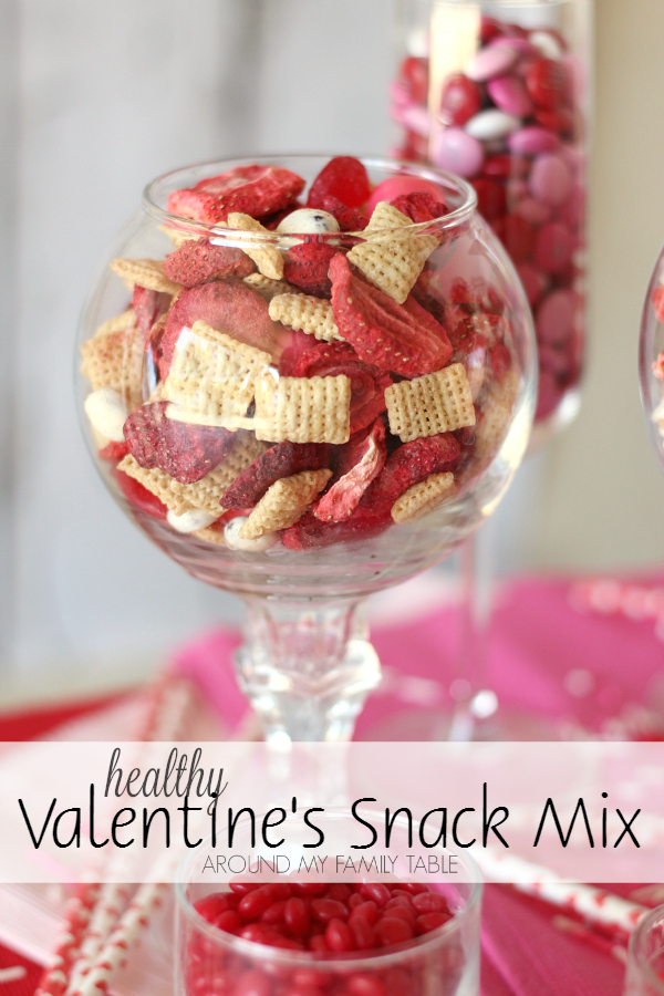 Skip the high calorie Valentine treats and sub in this delicious and Healthy Valentine's Snack Mix to make everyone happy.