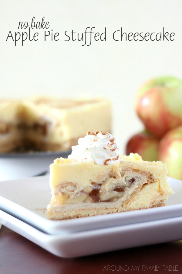 This No Bake Apple Pie Stuffed Cheesecake is probably the world's easiest dessert and couldn't be more impressive!