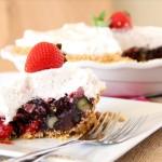 No Bake Triple Berry Pie with Pretzel Crust