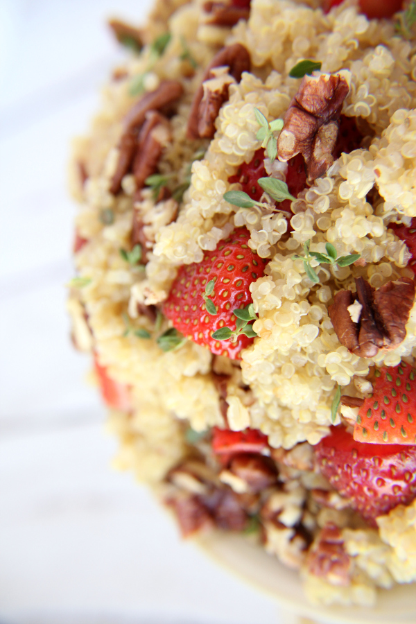 Summer side dishes should be cool and light, like this SWEET STRAWBERRY & PECAN QUINOA SALAD.