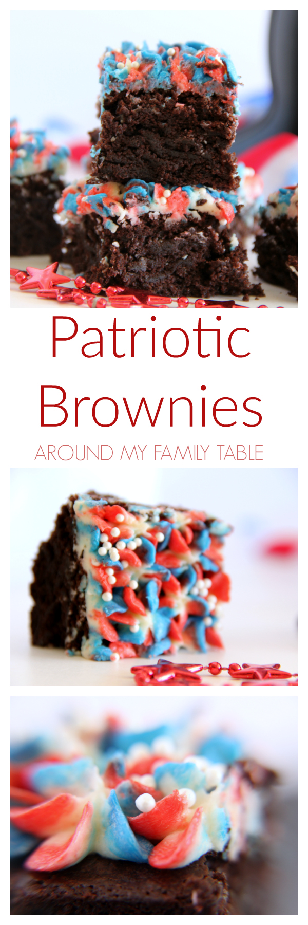 These festive Red, White, & Blue Patriotic Brownies are a must have for any summer party!