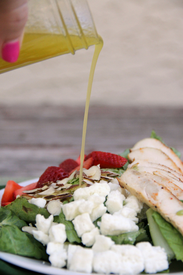 I rely on quick and easy salads like this STRAWBERRY ALMOND CHICKEN SALAD with a homemade HONEY LIME VINAIGRETTE for supper on hot summer nights.
