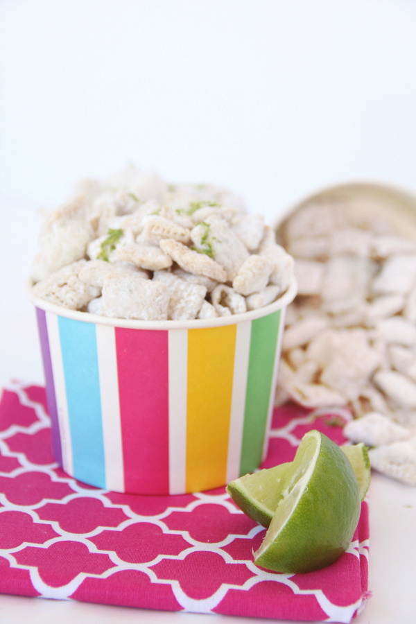 This sweet and tart LIME COCONUT PUPPY CHOW is addictive and reminiscent of those crunchy lime cooler cookies.