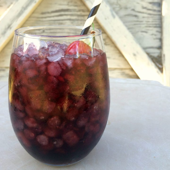 homemade cherry wine cooler served over ice