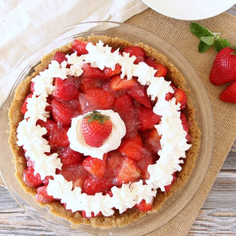 EASY STRAWBERRY PIE topped with whipped cream