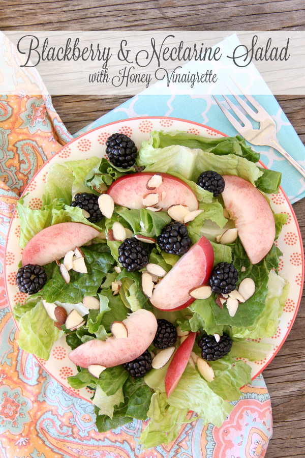 This delicious Blackberry Nectarine Salad with Honey Vinaigrette is perfect for a hot summer night.