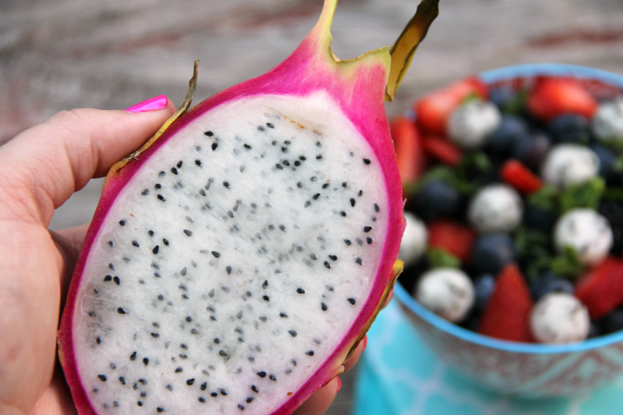 This stunning Dragon Fruit Salad doesn't need a fancy dressing to be delicious. You'll be surprised at how simple it is.