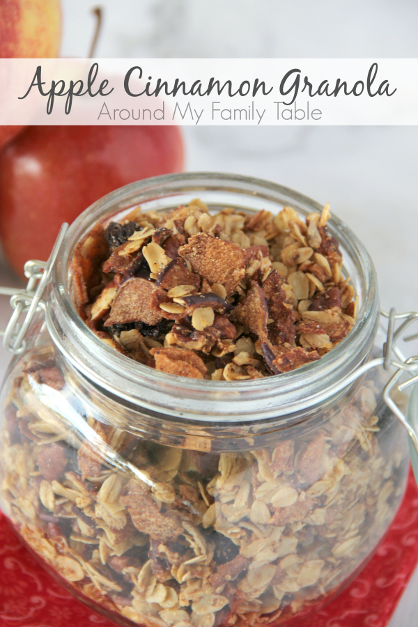 This Apple Cinnamon Granola is perfect for fall.  Tons of apple goodness with a hint of cinnamon makes this granola perfect for the season.