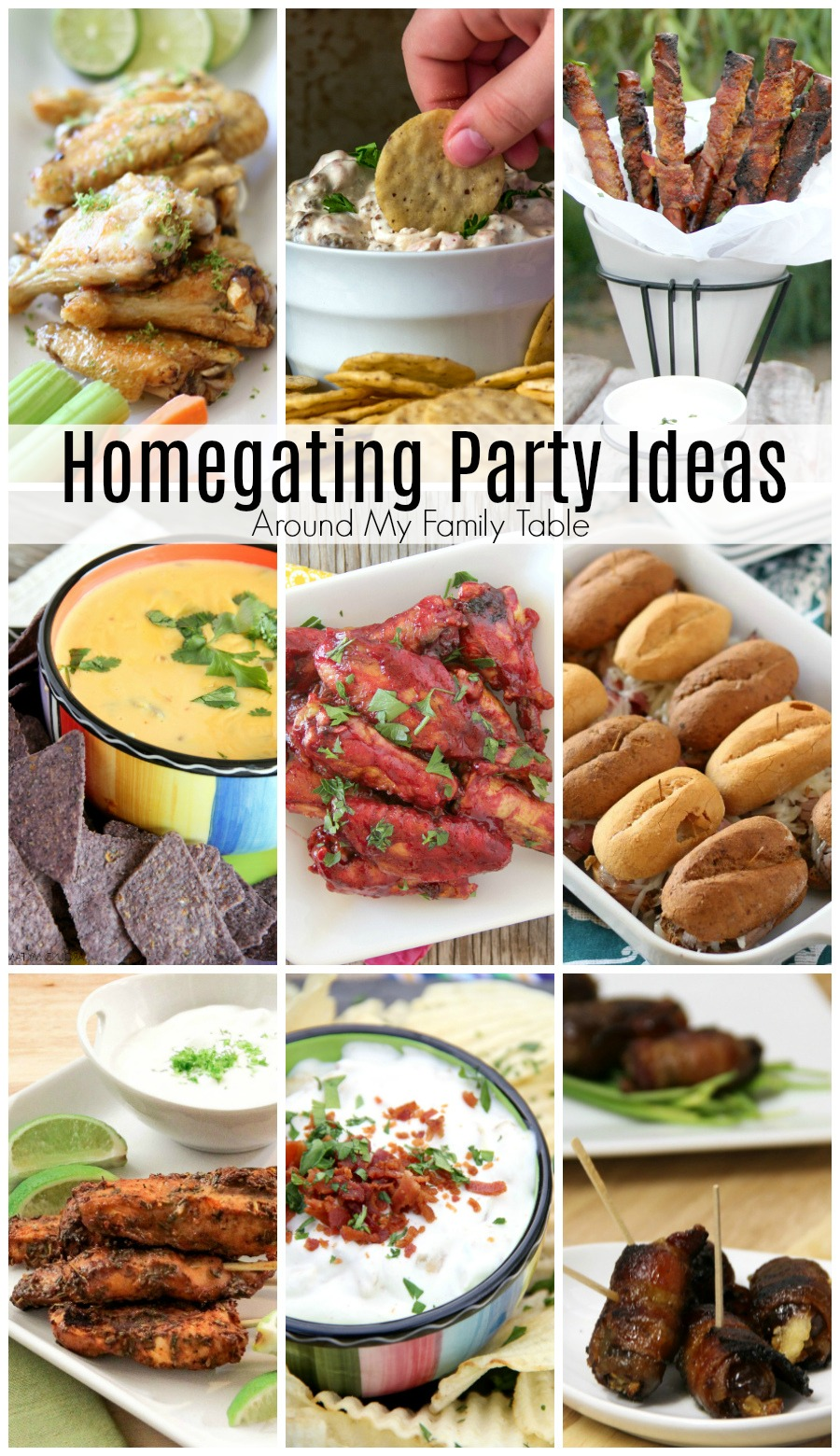 collage of delicious homegating party ideas and food