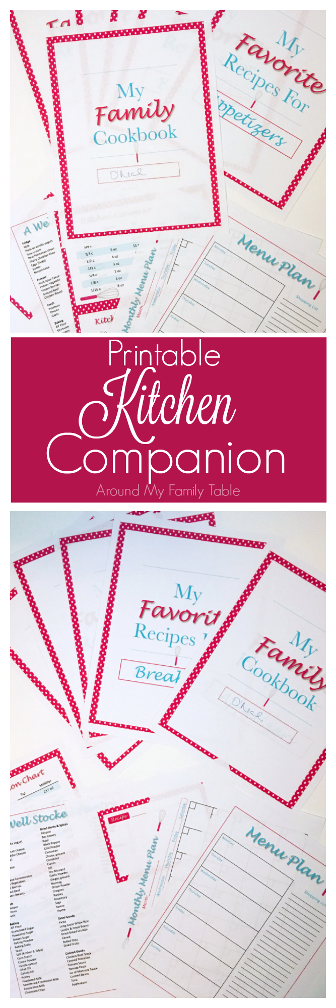 Printable kitchen companion includes 2 menu plans, recipe cards, kitchen binder inserts, and more.