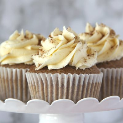 These delicious Pumpkin Pie Spiced Cupcakes are sure to be hit this holiday season.